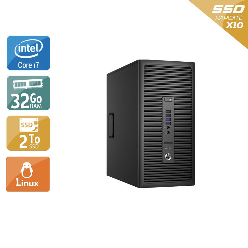 HP ProDesk 600 G2 Tower i7 Gen 6 32Go RAM 2To SSD Linux