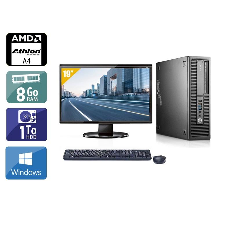 HP EliteDesk 705 G1 SFF AMD A4 avec Écran 19 pouces 8Go RAM 1To HDD Windows 10