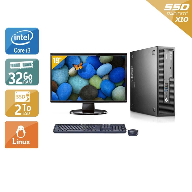 HP EliteDesk 800 G2 SFF i3 Gen 6 avec Écran 19 pouces 32Go RAM 2To SSD Linux