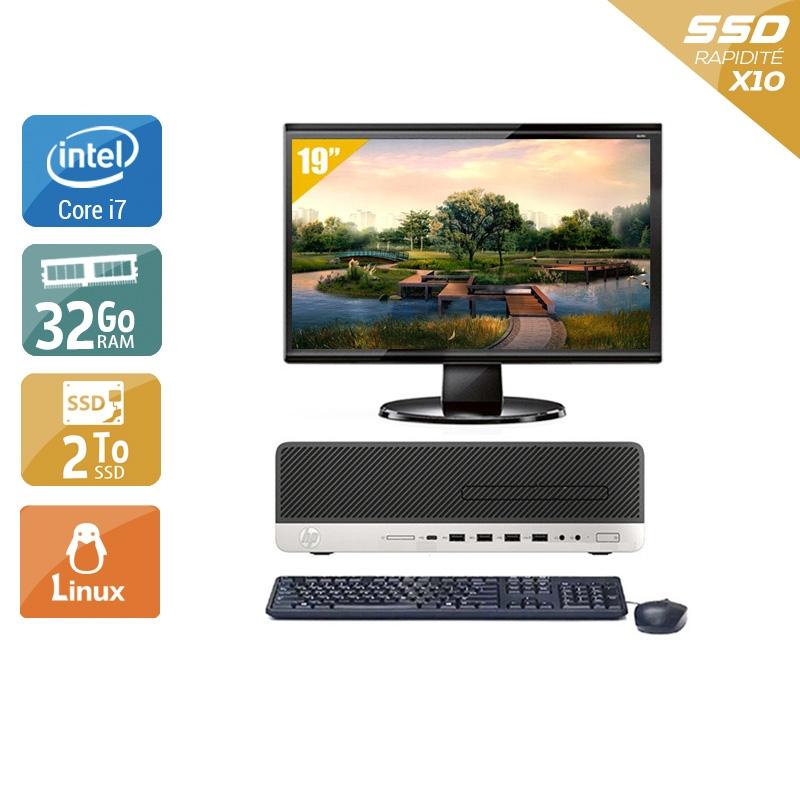 HP EliteDesk 800 G3 SFF i7 Gen 6 avec Écran 19 pouces 32Go RAM 2To SSD Linux