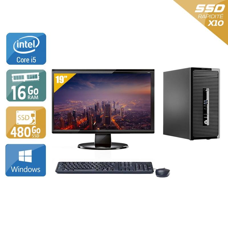 HP ProDesk 400 G2 Tower i5 avec Écran 19 pouces 16Go RAM 480Go SSD Windows 10