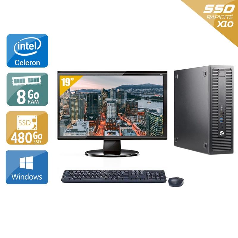 HP ProDesk 600 G1 SFF Celeron Dual Core avec Écran 19 pouces 8Go RAM 480Go SSD Windows 10