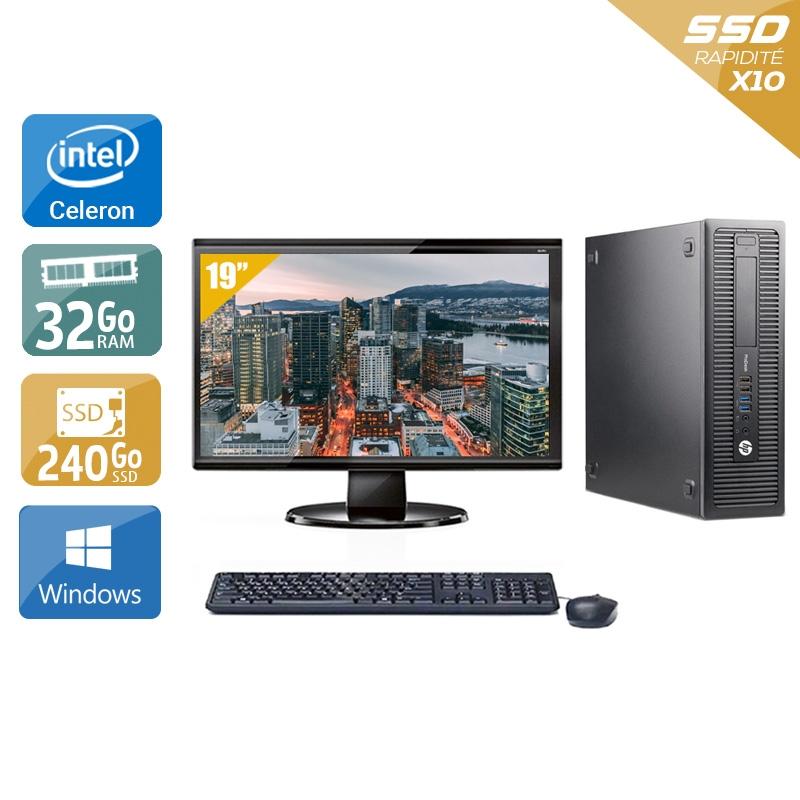 HP ProDesk 600 G1 SFF Celeron Dual Core avec Écran 19 pouces 32Go RAM 240Go SSD Windows 10