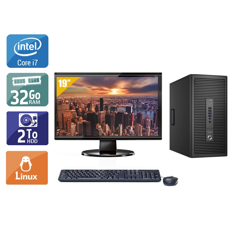 HP ProDesk 600 G2 Tower i7 Gen 6 avec Écran 19 pouces 32Go RAM 2To HDD Linux