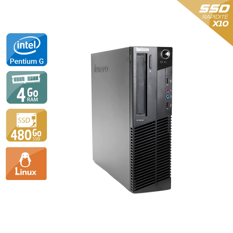 Lenovo ThinkCentre M82 SFF Pentium G Dual Core 4Go RAM 480Go SSD Linux