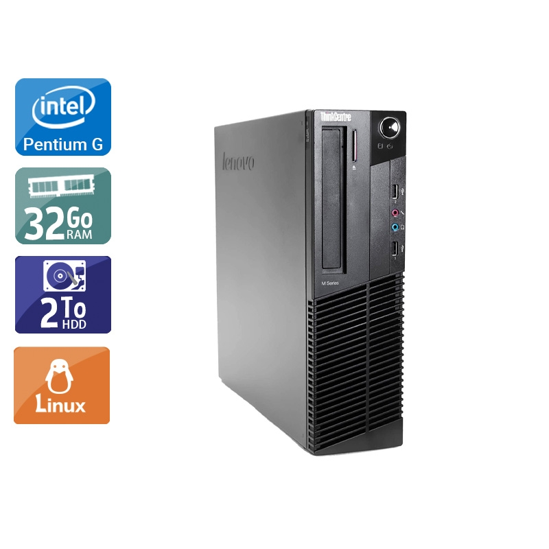 Lenovo ThinkCentre M82 SFF Pentium G Dual Core 32Go RAM 2To HDD Linux