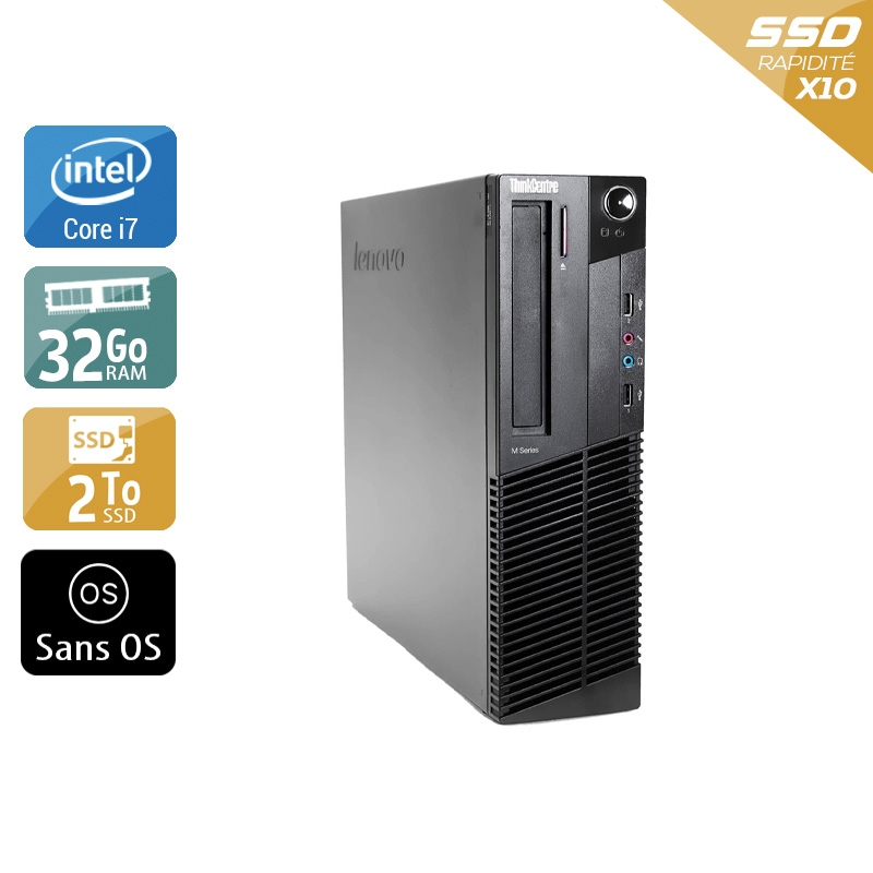 Lenovo ThinkCentre M83 SFF i7 32Go RAM 2To SSD Sans OS