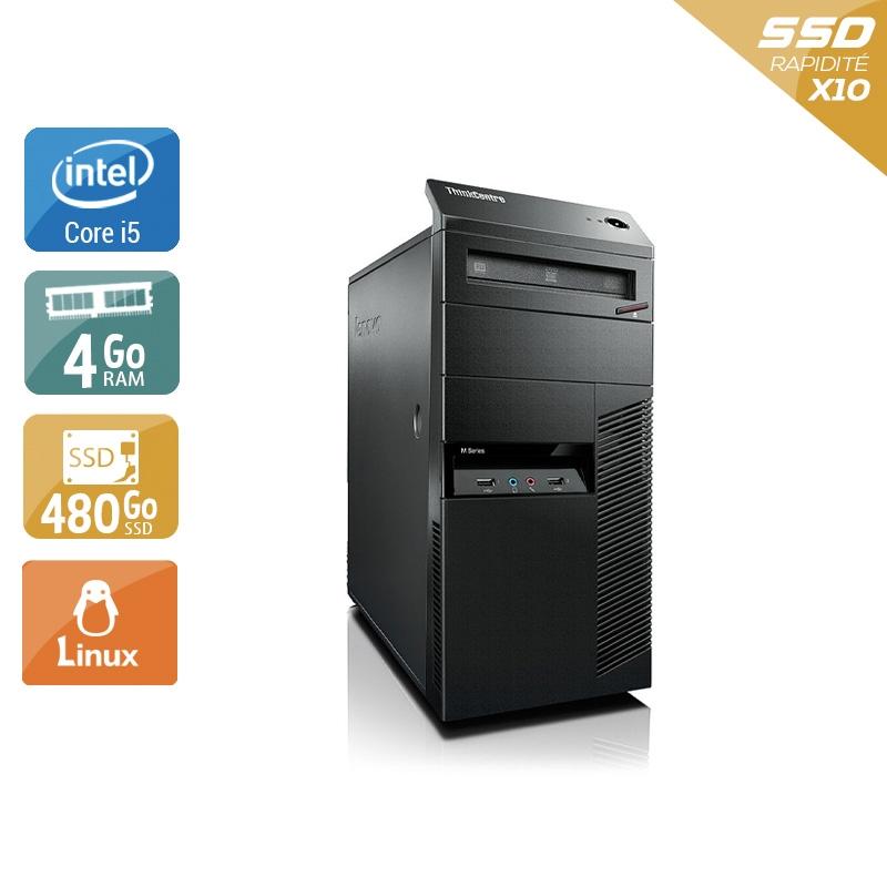 Lenovo ThinkCentre M90 Tower i5 4Go RAM 480Go SSD Linux