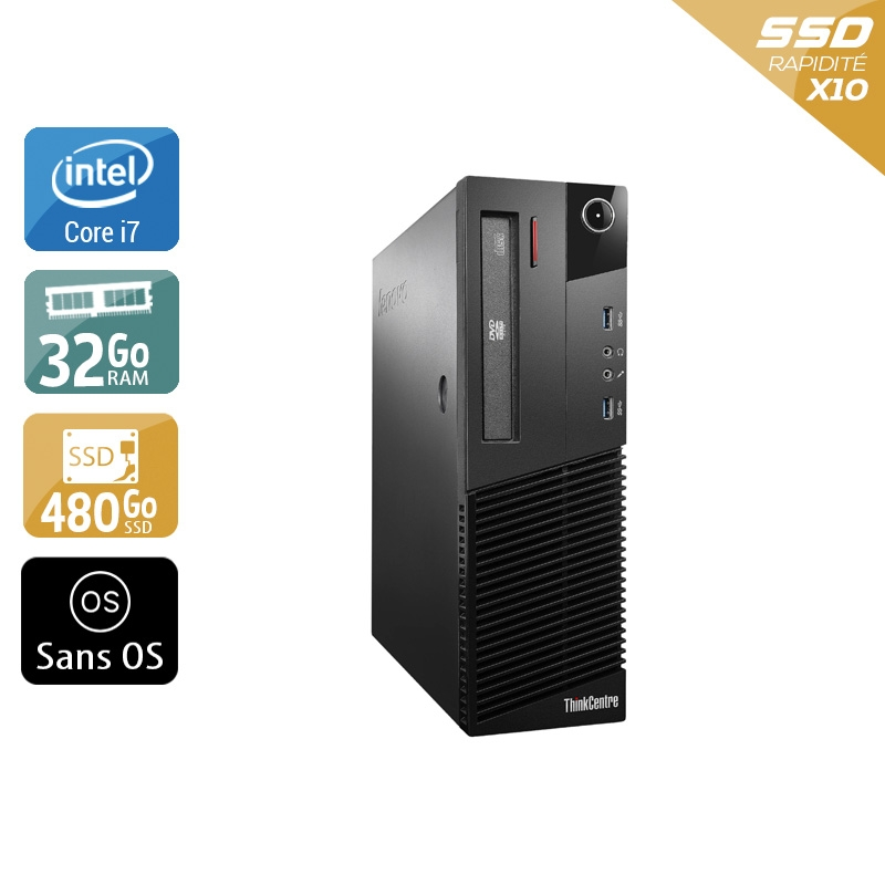 Lenovo ThinkCentre M93 SFF i7 32Go RAM 480Go SSD Sans OS