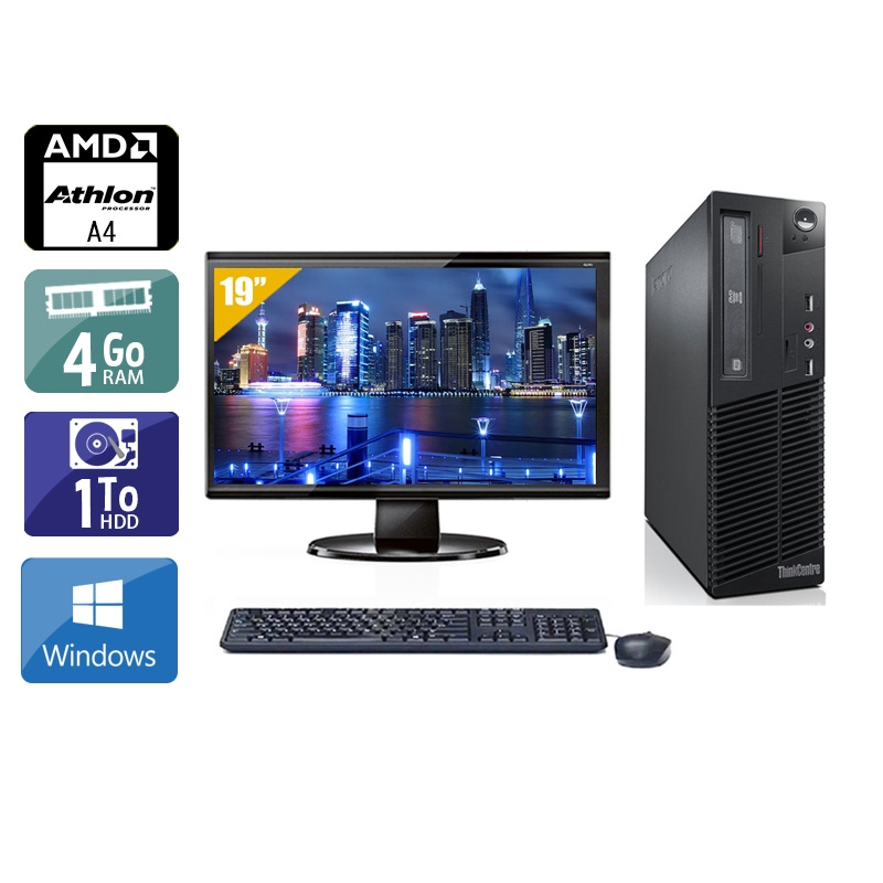 Lenovo ThinkCentre M78 SFF AMD A4 avec Écran 19 pouces 4Go RAM 1To HDD Windows 10