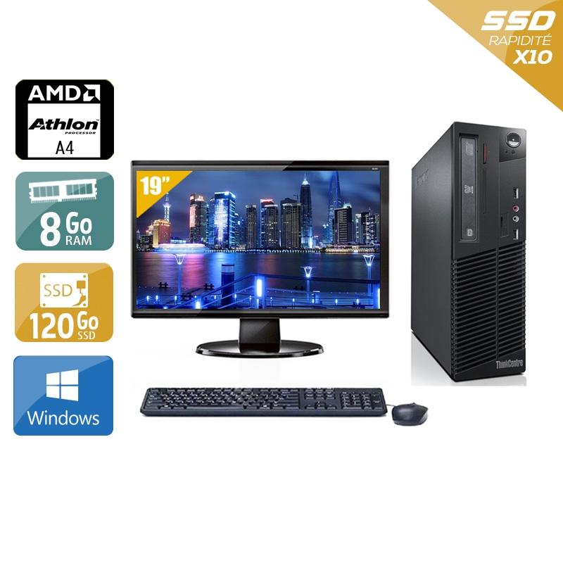 Lenovo ThinkCentre M78 SFF AMD A4 avec Écran 19 pouces 8Go RAM 120Go SSD Windows 10