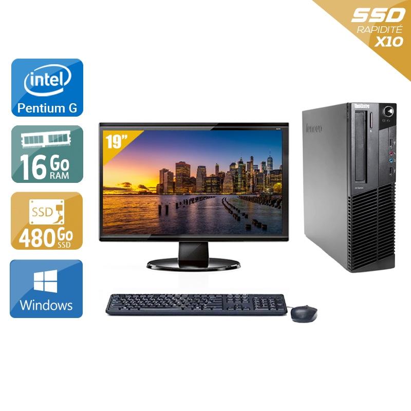 Lenovo ThinkCentre M82 SFF Pentium G Dual Core avec Écran 19 pouces 16Go RAM 480Go SSD Windows 10
