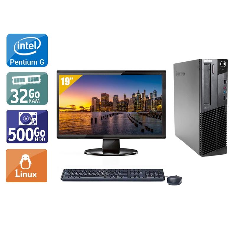 Lenovo ThinkCentre M82 SFF Pentium G Dual Core avec Écran 19 pouces 32Go RAM 500Go HDD Linux