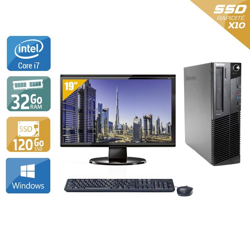 Lenovo ThinkCentre M83 SFF i7 avec Écran 19 pouces 32Go RAM 120Go SSD Windows 10