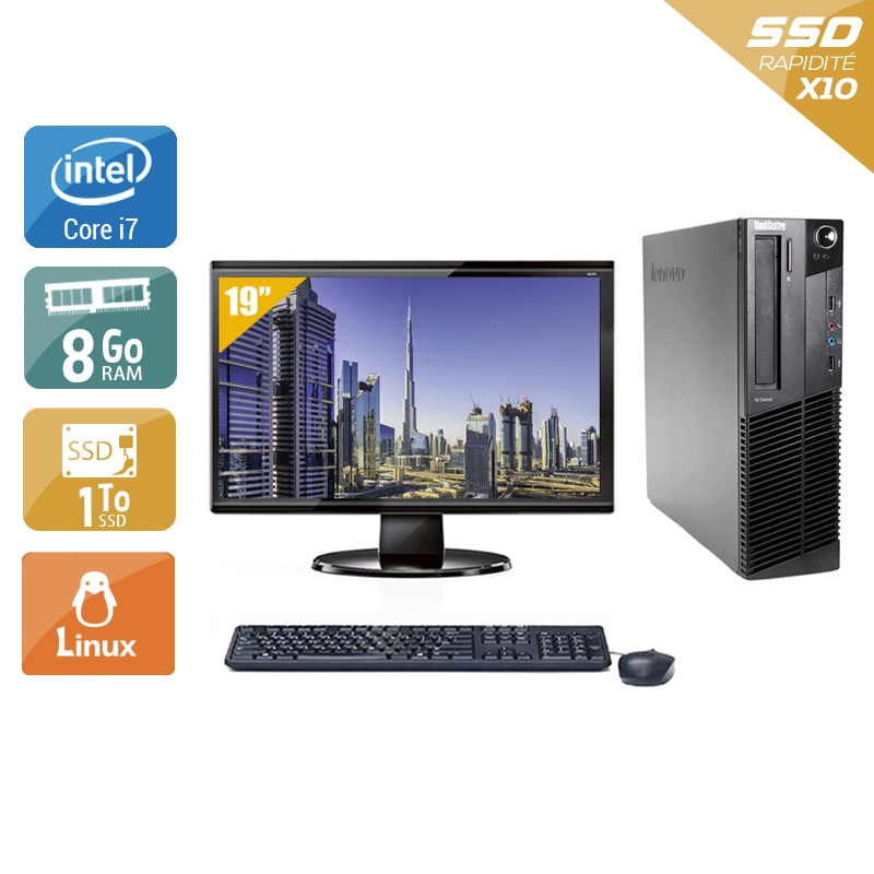 Lenovo ThinkCentre M83 SFF i7 avec Écran 19 pouces 8Go RAM 1To SSD Linux
