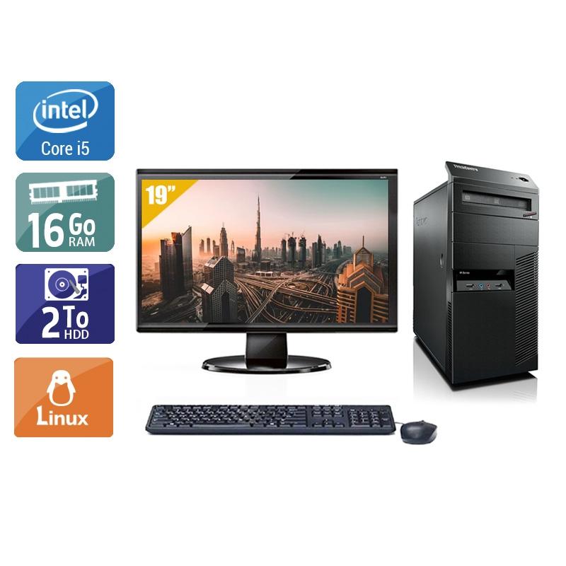 Lenovo ThinkCentre M90 Tower i5 avec Écran 19 pouces 16Go RAM 2To HDD Linux