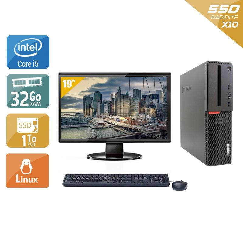 Lenovo ThinkCentre M900 SFF i5 Gen 6 avec Écran 19 pouces 32Go RAM 1To SSD Linux