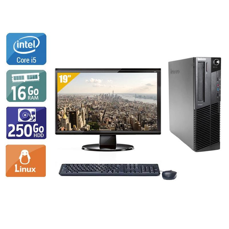 Lenovo ThinkCentre M91 SFF i5 avec Écran 19 pouces 16Go RAM 250Go HDD Linux
