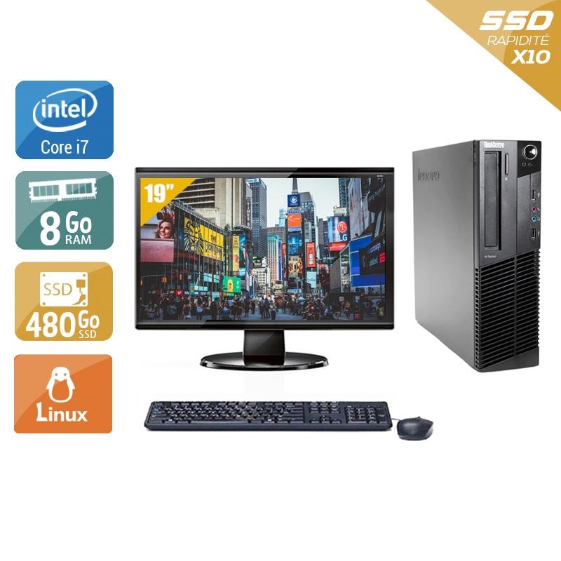 Lenovo ThinkCentre M91 SFF i7 avec Écran 19 pouces 8Go RAM 480Go SSD Linux