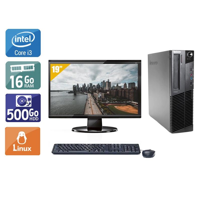 Lenovo ThinkCentre M92 SFF i3 avec Écran 19 pouces 16Go RAM 500Go HDD Linux