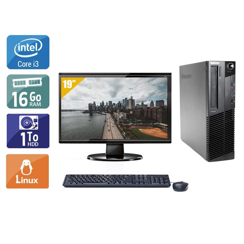 Lenovo ThinkCentre M92 SFF i3 avec Écran 19 pouces 16Go RAM 1To HDD Linux