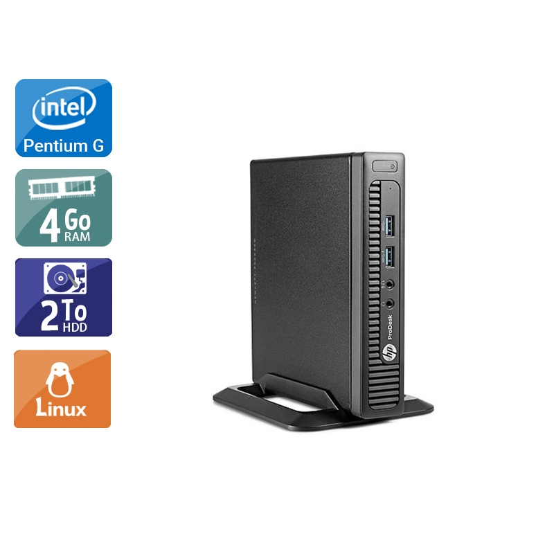 HP ProDesk 600 G1 TINY Pentium G Dual Core 4Go RAM 2To HDD Linux