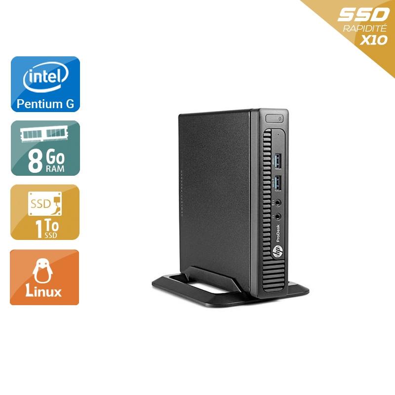 HP ProDesk 600 G1 TINY Pentium G Dual Core 8Go RAM 1To SSD Linux