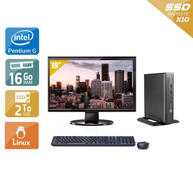 HP ProDesk 600 G1 TINY Pentium G Dual Core avec Écran 19 pouces 16Go RAM 2To SSD Linux