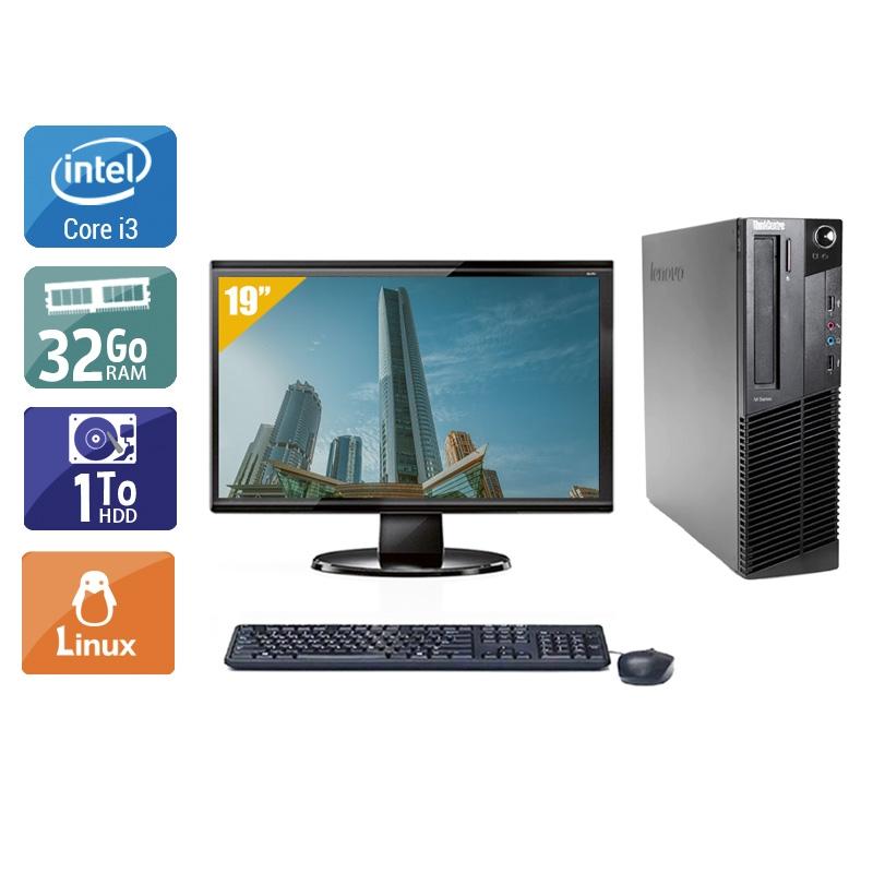 Lenovo ThinkCentre M83 SFF i3 avec Écran 19 pouces 32Go RAM 1To HDD Linux