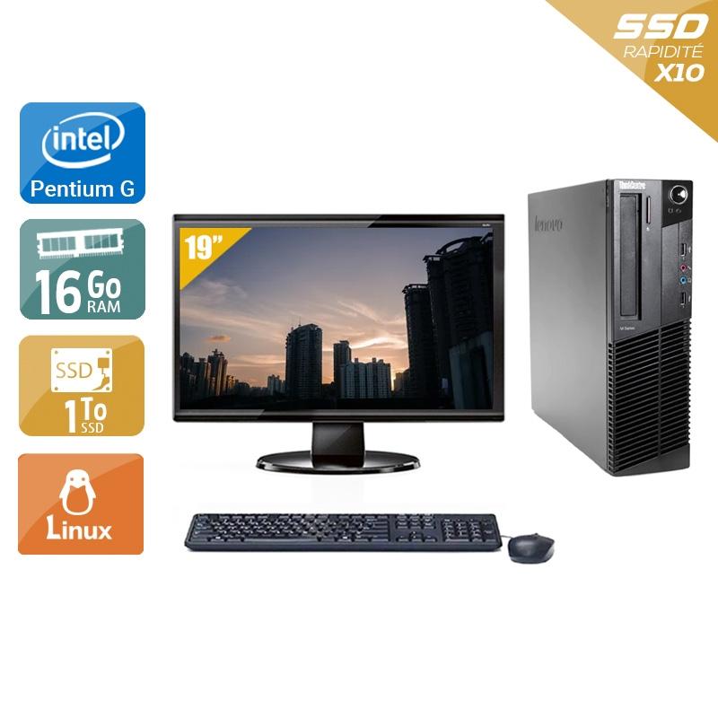 Lenovo ThinkCentre M83 SFF Pentium G Dual Core avec Écran 19 pouces 16Go RAM 1To SSD Linux