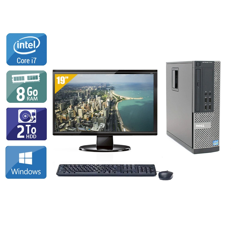 Dell Optiplex 990 SFF i7 avec Écran 19 pouces 8Go RAM 2To HDD Windows 10