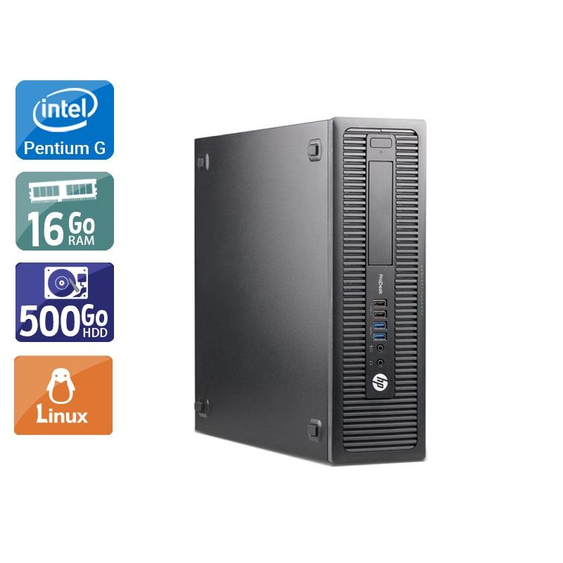 HP ProDesk 600 G1 SFF Pentium G Dual Core 16Go RAM 500Go HDD Linux