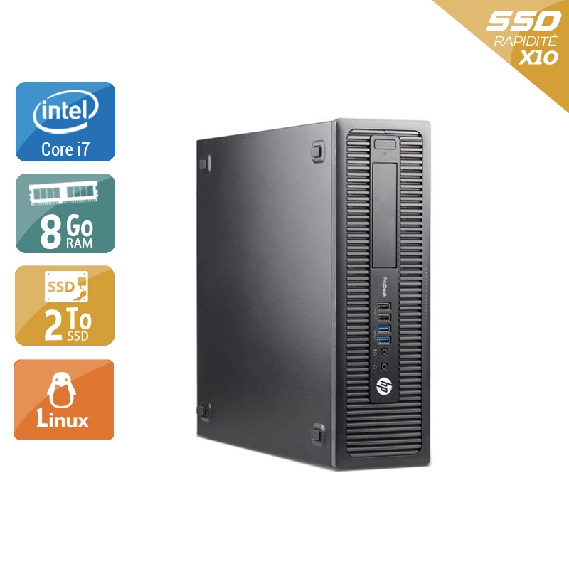 HP ProDesk 600 G1 SFF i7 8Go RAM 2To SSD Linux