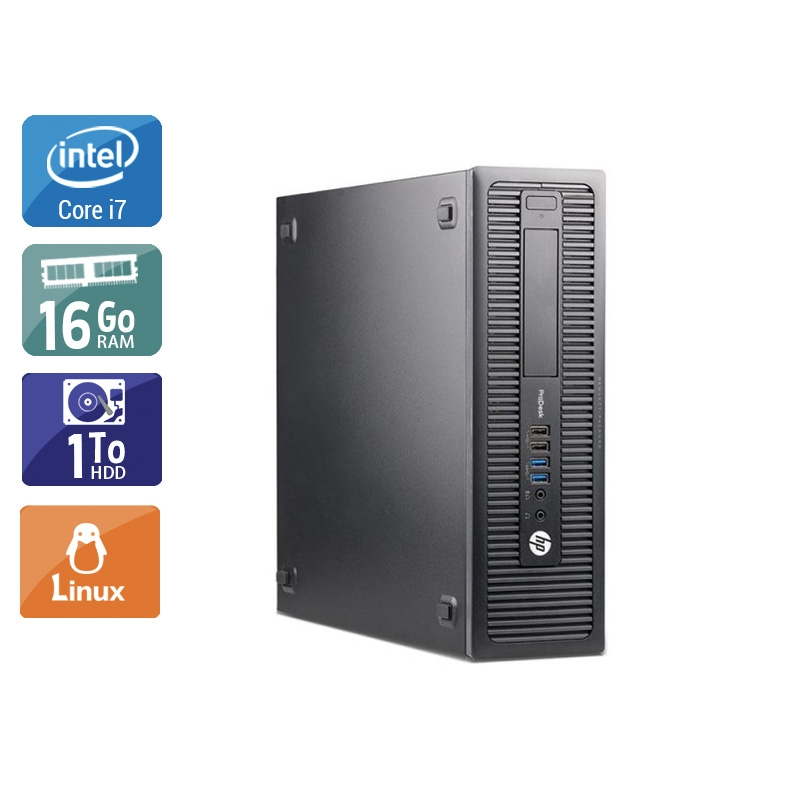 HP ProDesk 600 G1 SFF i7 16Go RAM 1To HDD Linux