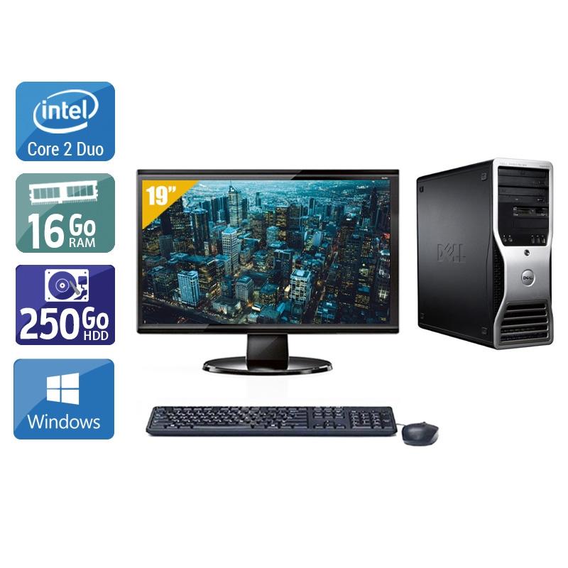 Dell Précision T3400 Tower Core 2 Duo avec Écran 19 pouces 16Go RAM 250Go HDD Windows 10