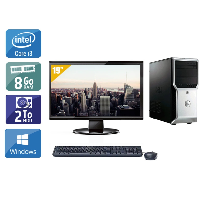 Dell Précision T1500 Tower i3 avec Écran 19 pouces 8Go RAM 2To HDD Windows 10