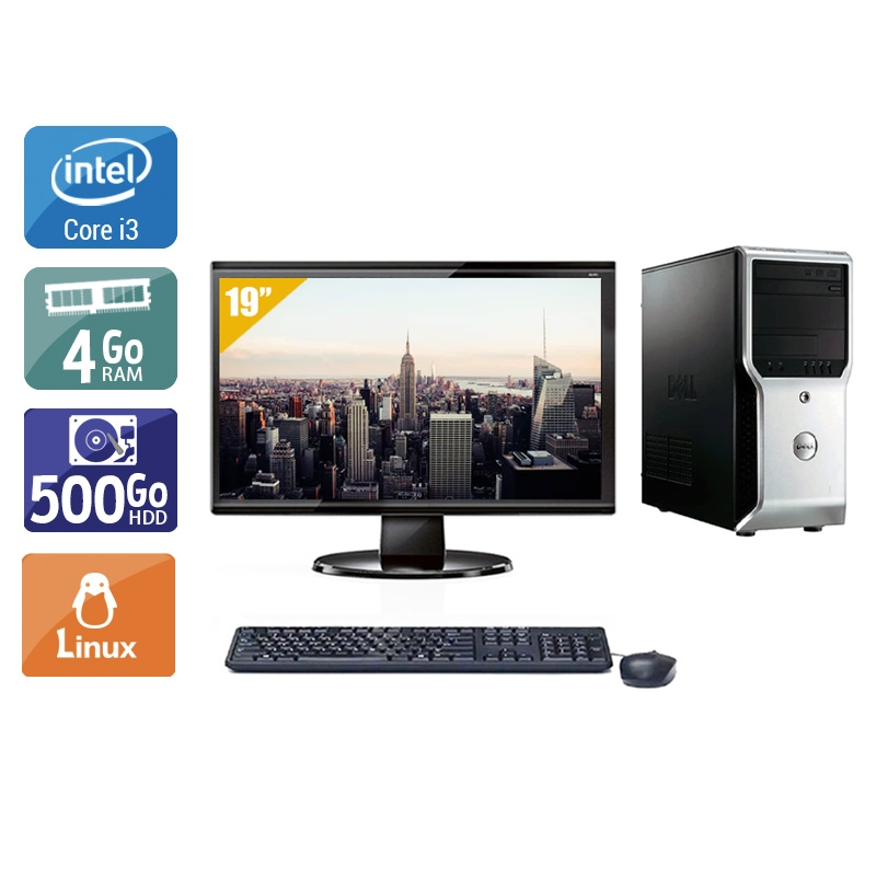 Dell Précision T1500 Tower i3 avec Écran 19 pouces 4Go RAM 500Go HDD Linux