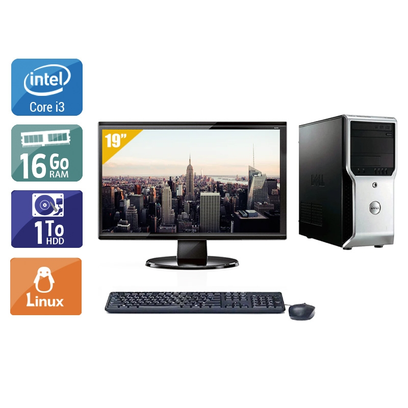 Dell Précision T1500 Tower i3 avec Écran 19 pouces 16Go RAM 1To HDD Linux