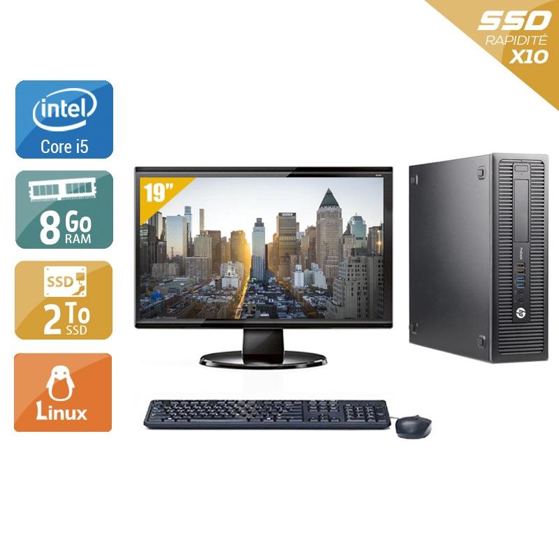 HP ProDesk 600 G1 SFF i5 avec Écran 19 pouces 8Go RAM 2To SSD Linux