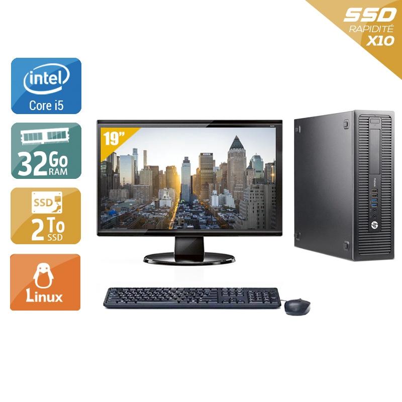 HP ProDesk 600 G1 SFF i5 avec Écran 19 pouces 32Go RAM 2To SSD Linux