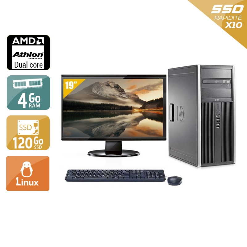 HP Compaq dc5850 Tower AMD Athlon Dual Core avec Écran 19 pouces 4Go RAM 120Go SSD Linux