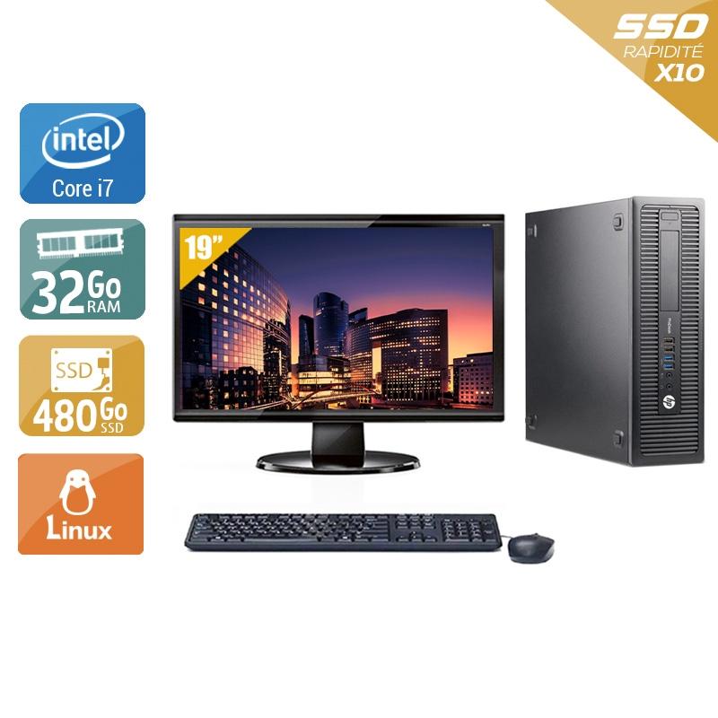 HP ProDesk 600 G1 SFF i7 avec Écran 19 pouces 32Go RAM 480Go SSD Windows 10