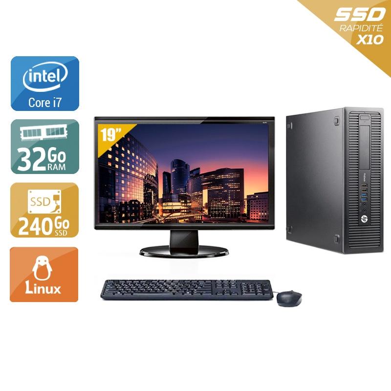 HP ProDesk 600 G1 SFF i7 avec Écran 19 pouces 32Go RAM 240Go SSD Linux