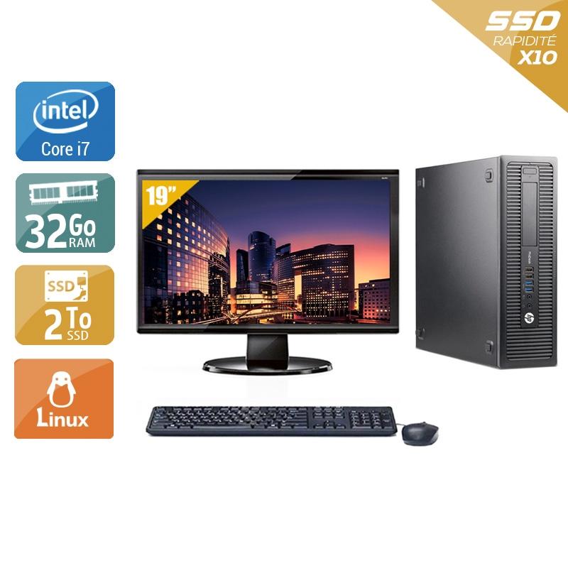 HP ProDesk 600 G1 SFF i7 avec Écran 19 pouces 32Go RAM 2To SSD Linux