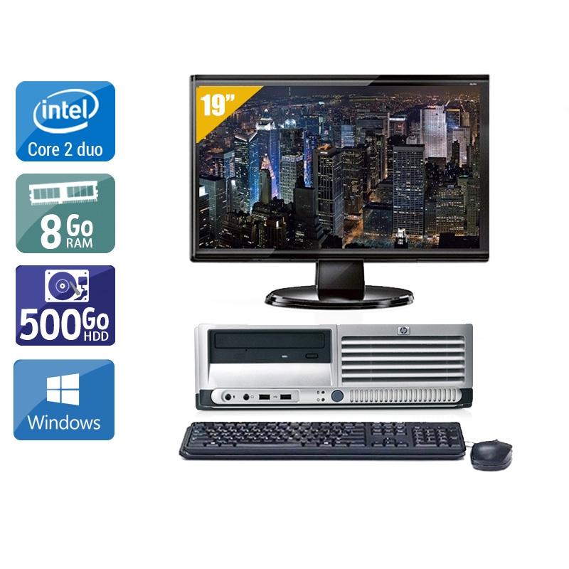 HP Compaq dc7700 SFF Core 2 Duo avec Écran 19 pouces 8Go RAM 500Go HDD Windows 10
