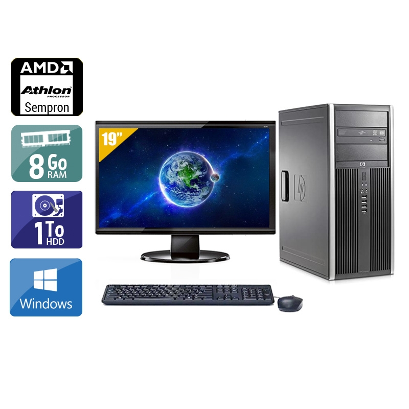 HP Compaq dc5750 Tower AMD Sempron avec Écran 19 pouces 8Go RAM 1To HDD Windows 10