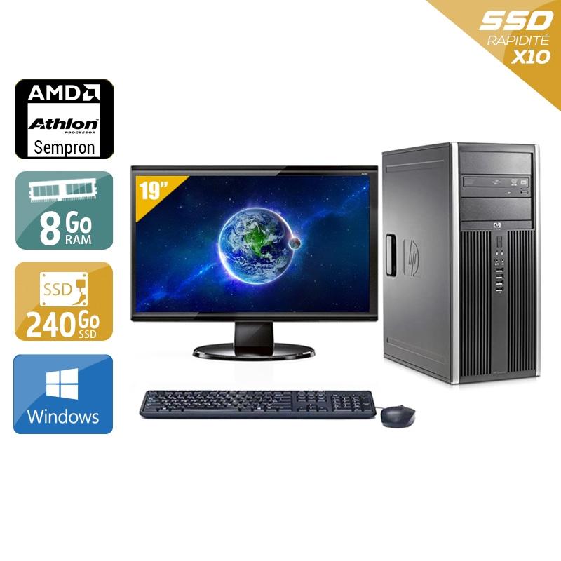 HP Compaq dc5750 Tower AMD Sempron avec Écran 19 pouces 8Go RAM 240Go SSD Windows 10