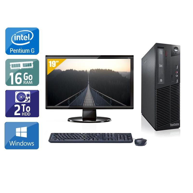 Lenovo ThinkCentre M72E SFF Pentium G Dual Core avec Écran 19 pouces 16Go RAM 2To HDD Windows 10