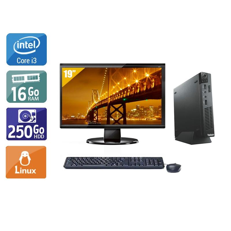 Lenovo ThinkCentre M72E Tiny i3 avec Écran 19 pouces 16Go RAM 250Go HDD Linux