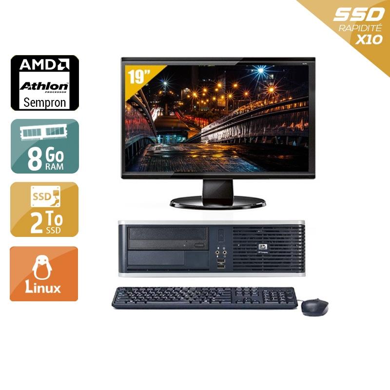HP Compaq dc5750 SFF AMD Sempron avec Écran 19 pouces 8Go RAM 2To SSD Linux